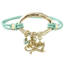 NEW Goldtone Ribbon & Heart Charm Mint Green Stretch Cord Bracelet or Hair Tie