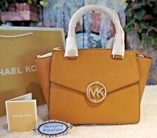 NWT Michael Kors HUDSON MD Satchel Crossbody Handbag ACORN Saffiano Leather $368
