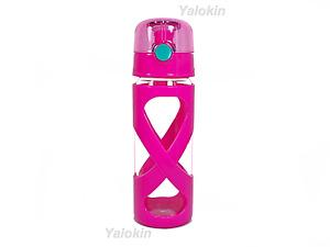 NEW Pink BPA Lead Free Flip Lid GLASS Beverage Bottle 16 oz (0.5 Liter)