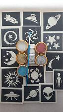 Space themed glitter tattoo set incl. stencils + glitter + glue  stars moon UFO