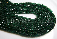"13"" strand rare deep green APATITE faceted gem stone rondelle beads 4mm"