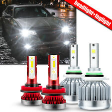 For Chrysler 300 2011-14 200 2013-15 9012 LED Headlight Kit + H11 Fog Light Bulb
