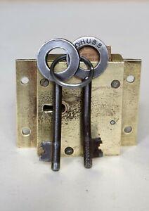 Original CHUBB heavy Brass Post Box Lock GPO Post office Royal Mail c/w key
