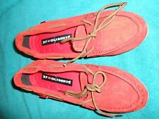 Oliberte red suede Niami leather boat shoes flats display size 7M New no box
