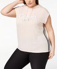 Calvin Klein Performance Plus Size Sleeveless Cropped Hoodie, Seashell, Size 3X,