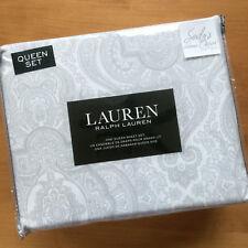 Ralph Lauren GRAY MEDALLION 4p QUEEN SHEET SET Paisley grey White COTTON xdp fit