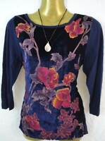 M&S Marks and Spencer beautiful dark blue velvet / knitted top size UK 8 - 12