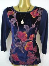 M&S Marks and Spencer beautiful dark blue velvet / knitted top size UK 8 - 12
