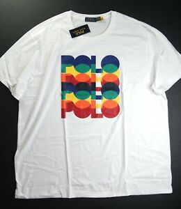 POLO RALPH LAUREN Men's Big & Tall White Rainbow Bold Logo Graphic T-Shirt NWT
