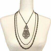 Vintage Multi Strand Silver Tone Chain Statement Pendant Necklace Layered