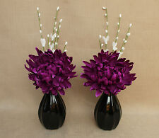 ARTIFICIAL (SET OF 2) SILK PURPLE POM POM FLOWERS IN BLACK PUMPKIN CERAMIC VASES