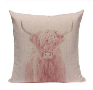 Pink Highland Cow Cushion Cover, indoor/outdoor, Scotland, Blush pink, country