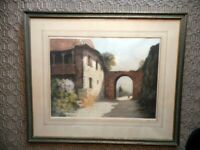 UNKNOWN ARTIST SIGNED ANTIQUE ART SPANISH HACIENDA WITH ARCH MATTED & FRAMED
