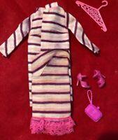 Barbie Doll #1843 Dancing Stripes Dress Coat Shoes Hanger  Vtg 1968