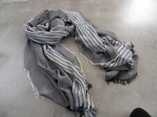 Männerschal Zwillingsherz Streifen Blau Beige Weiss Schwarz T3