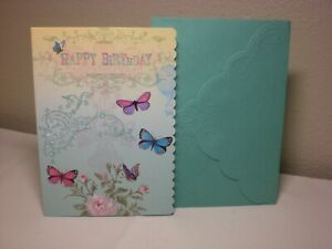 Carol's Rose Garden -  Birthday card - Five Butterflies on the front
