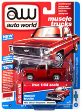 2019 AUTO WORLD 1:64 *PREMIUM 2A* Flame Red 1973 Chevy Cheyenne Stepside *NIP*