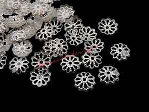 300 Pcs -  Silver Plated 8mm Bead Caps Jewellery Findings Craft G83