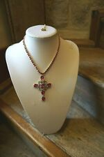 Butler & Wilson crystal Cross & Crystal  chain  Necklace  RED