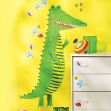 Wallies Green CROCODILE Growth Chart mural stickers - inches & metric Alligator