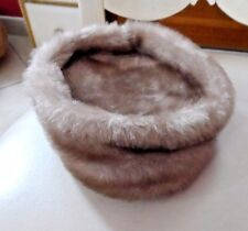 Ladies vintage Pillbox medium brown faux fur hat (union made)