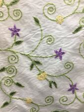 White Purple Multicolor Floral Embroidered 100% Cotton Fabric (44 in.) Sold Bty