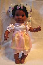 "RARE Vintage Olmec Toys Cloth/Vinyl 16"" African American Girl Doll w/Front Teeth"