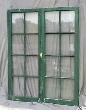 Pr Antique Casement Windows Pantry Cupboard Door Shabby Bookcase Vtg 1238-16
