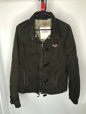 Women's Hollister Brown Faux Fur lined Zip Up Canvas Coat Size L