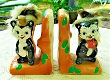 VINTAGE 1950's HAND PAINTED PORCELAIN SKUNK BOOKENDS WITH FURRY TAILS - JAPAN