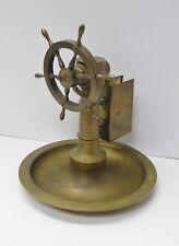 Antique Figural brass ship wheel Cigar cutter match holder turn wheel for cut