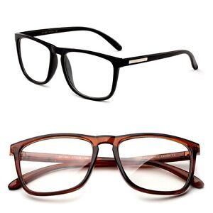 Nerdy Squared Clear Lens Non Prescription Horned Rim Frame Unisex Eyeglasses