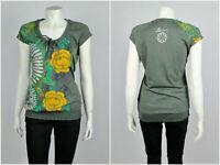 Womens Desigual Blouse Short Sleeve Floral Green Cotton Viscose Size L