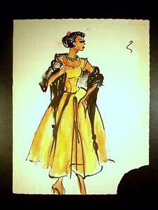 Lady In Ball Gown 1946-59 Original Watercolor Sketch By C Schattauer Kelm
