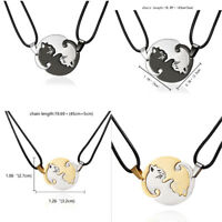 2X / Set Cat Necklace Couples Best Friend Puzzle Yin and Yang Lover Day Gifts