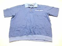 King Size Shirt Mens Size 2XLT Blue Mesh Polo Shirt Good Condition