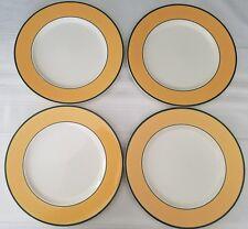 "SET OF FOUR Pagnossin ITALY Treviso  Spa Orange Green Trim Salad Plates 8-1/4"""