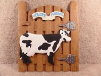 Country Decorate Holland Mold Welcome Friends Cow Picture For Wall To Hang Up