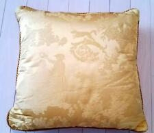 "VERSACE HOME Gold Tiger Floral SQUARE Throw PILLOW Gold Piping ITALY 19"" x 19"""