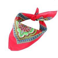 Red Paisley Bandana Scarf Headscarf Neckerchief Hankie Cotton Pocket Square