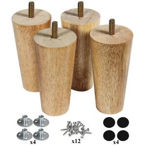 5 inch Wood Furniture Legs Set of 4 Sofa Legs Clear Coated Tapered Leg