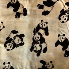 Brown Panda Bears On Beige Cotton Knit 1.42 Yards By 60 inches Fabric