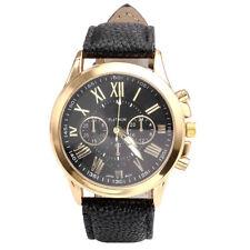 Klassisch Herren Damen Armbanduhr Quarzwerk Uhr PU Lederband Analog Schwarz