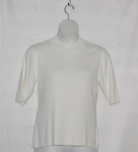 Linea by Louis Dell'Olio Mock Neck Short Sleeve Sweater Size L White