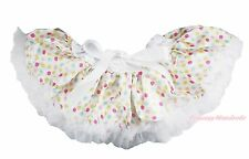 Newborn Baby White Rainbow Dots Pettiskirt Petti Skirt Dance Tutu Girl 3-12Month