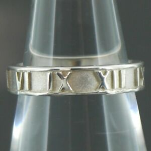 Authentic Tiffany & Co. Atlas Ring 925 Sterling Silver US:5.25 #f07070