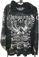 Raw State Premium Vengeance Pullover Hoodie Black Wings Graphics M Unisex
