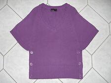 Vero Moda Pullover Strick Damen M lila warm V-Ausschnitt Fledermaus kurze Ärmel