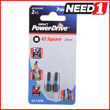 25 Packs of 2 POWERS #2x25mm Square Impact Screwdriver Bits