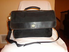 Coach Vintage Black Ballistic Nylon + Leather Messenger Bag Tote Briefcase 5321